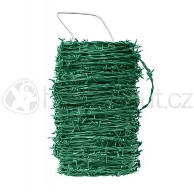 Pletivo a příslušenství - Drát ostnatý Zn+PVC zelený 2mm x 100m