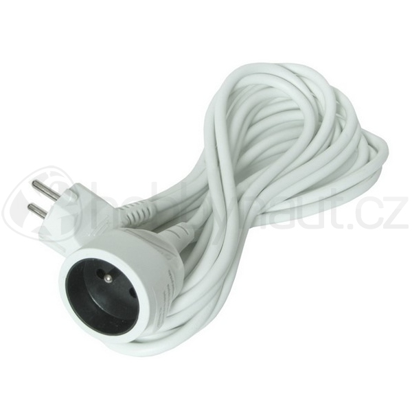 Elektro - Prodlužovací kabel bílý (3x1mm2), 1 zásuvka