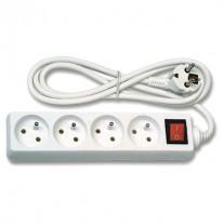 Prodlužovací kabel bílý (3x1mm2), 4 zásuvky, vypínač