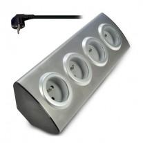 Prodlužovací kabel rohový stříbrný, 4 zásuvky - délka 1,5m