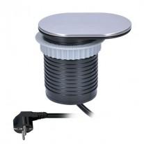 Prodlužovací kabel vestavný blok s víčkem,1 zásuvka, 1x USB - délka 1,9m