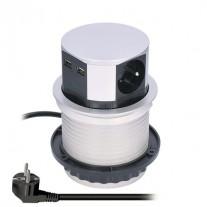 Prodlužovací kabel výsuvný blok, 3 zásuvky, 2x USB - délka 1,5m